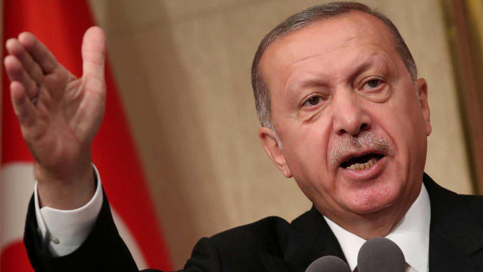 El presidente de Turquía, Recep Tayyip Erdogan, durante un discurso por el segundo aniversario del intento de golpe de Estado contra él