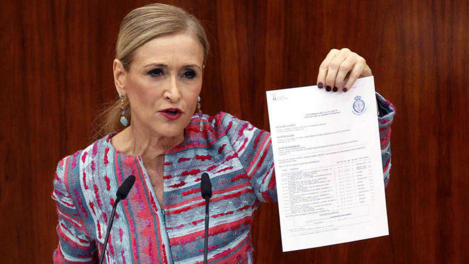 La expresidenta madrileña, Cristina Cifuentes, durante su comparecencia del pasado 4 de abril para dar explicaciones sobre las supuestas irregularidades de su máster.