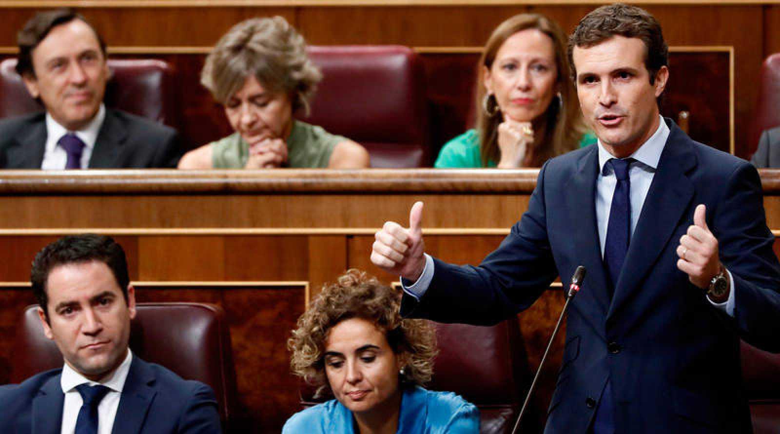 Pablo Casado, en la sesión de control al Gobierno en el Congreso