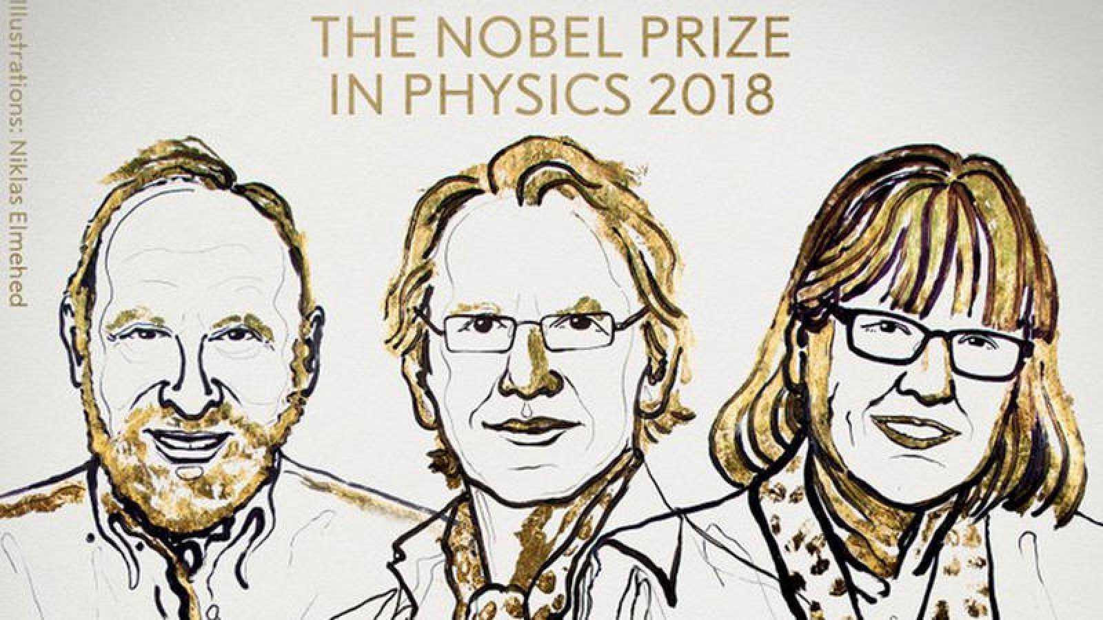Ilustración de los tres ganadores facilitada por la Real Academia Sueca de las Ciencias.