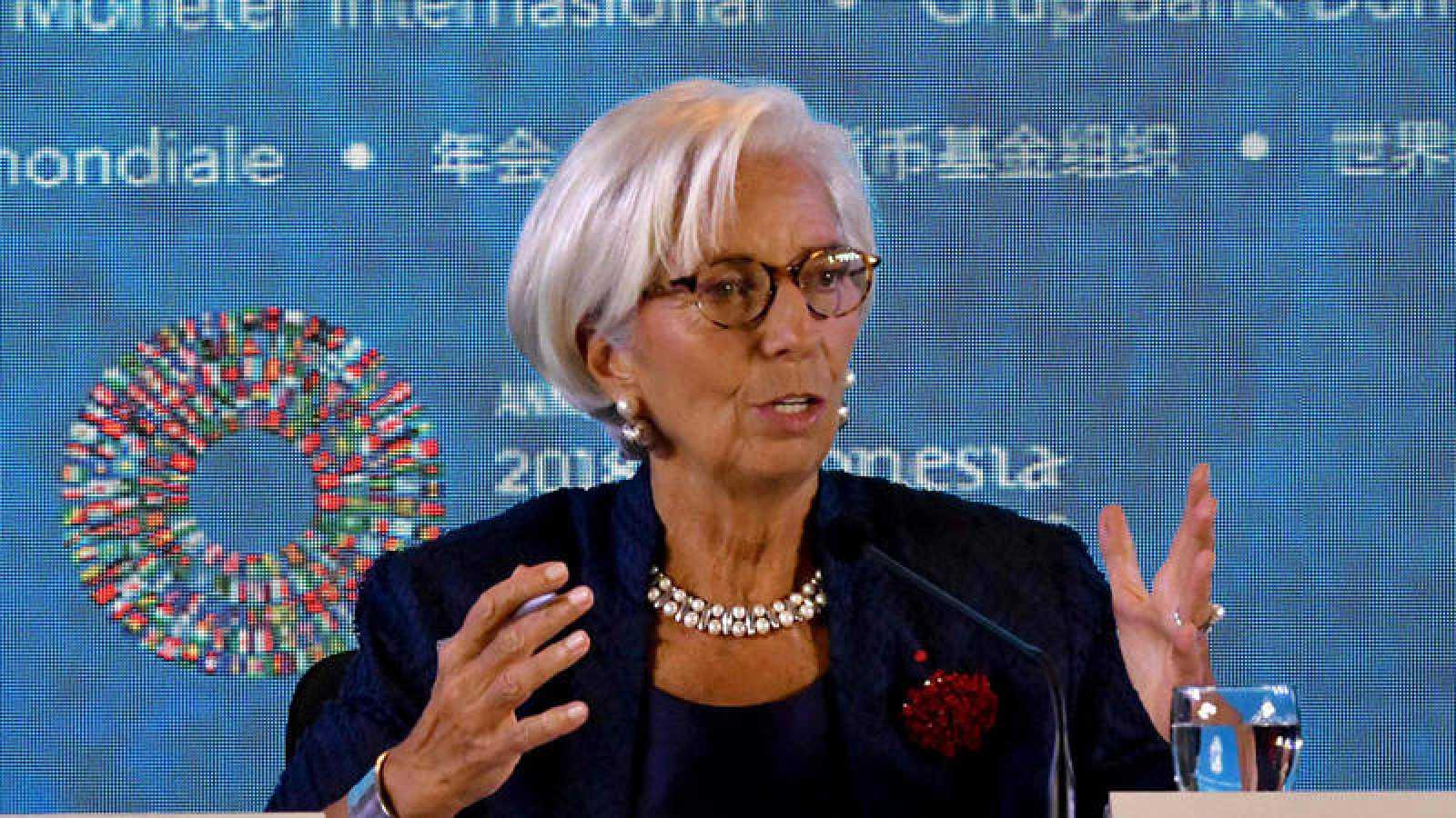 Christine Lagarde, en rueda de prensa en Bali
