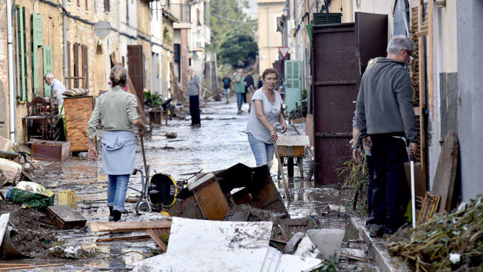 Vista de una de las calles de la localidad mallorquina de Sant Llorenç, tras las lluvias torrenciales