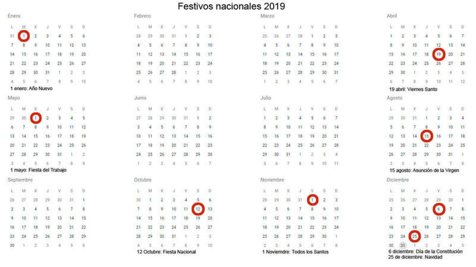 Calendario Laboral Pais Vasco 2019.Calendario Laboral 2019