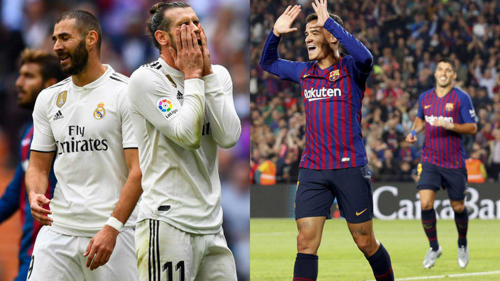 Benzema y Bale lamentan una ocasión fallada; Coutinho y Suárez celebran un gol.