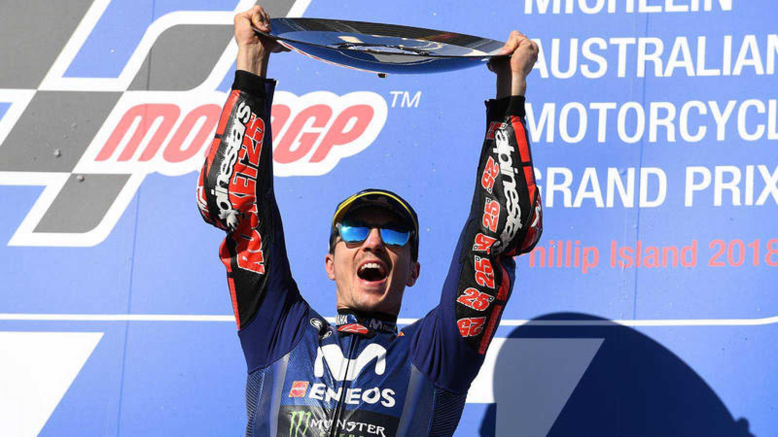 Maverick Viñales celebra su victoria en el GP de Australia.