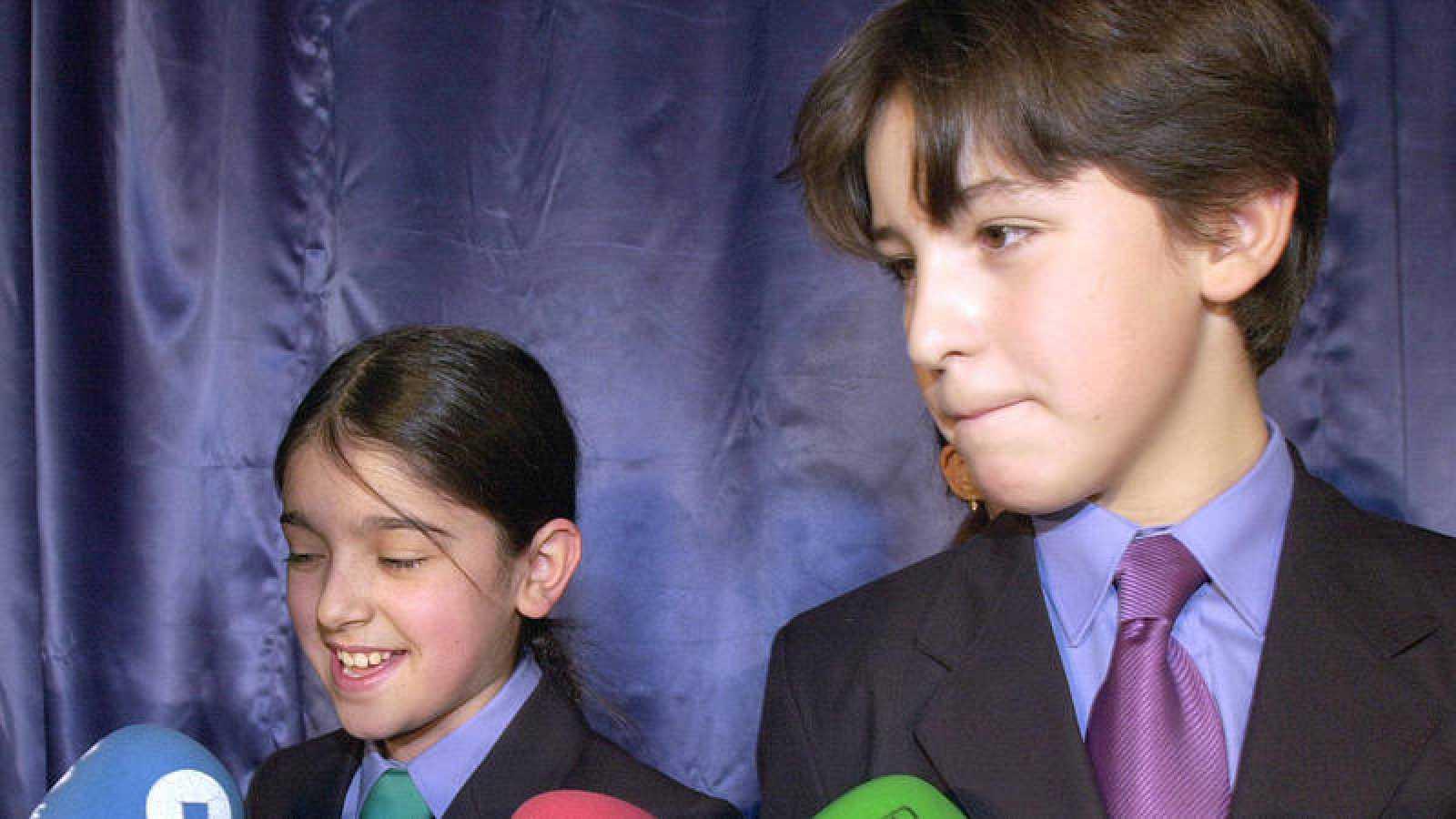 Moli Paredes y Aitor Sierra, los niños que cantaron el último Gordo en pesetas