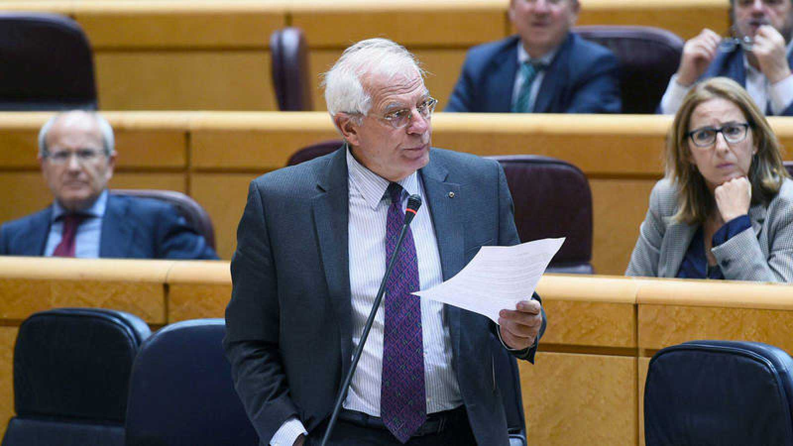El ministro de Asuntos Exteriores, Josep Borrell, durante la sesión de control al Gobierno en el pleno del Senado
