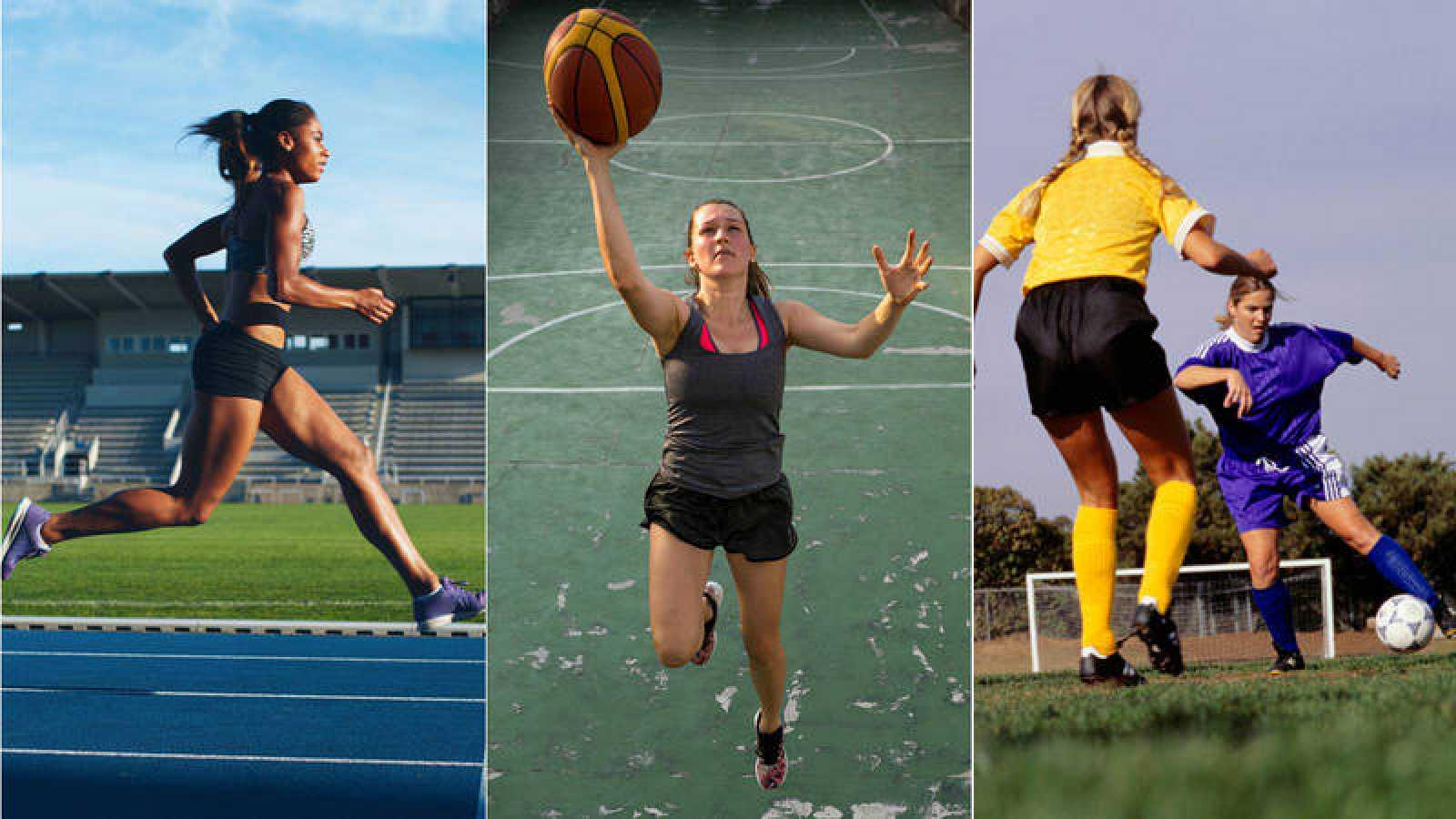 Imágenes de archivo de varias deportistas practicando atletismo, baloncesto y fútbol