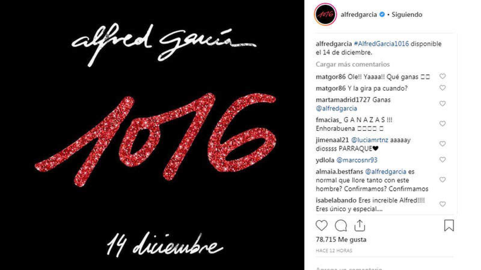 Alfred García lanza su primer disco '1016' el 14 de diciembre