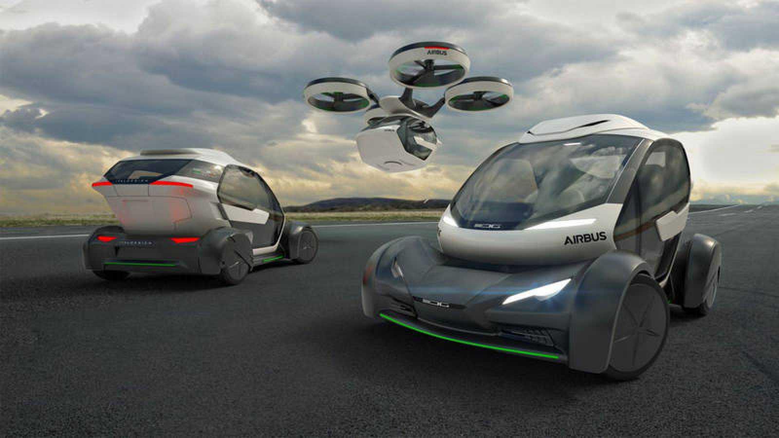 El vehículo se engancha a un dron enorme no tripulado.