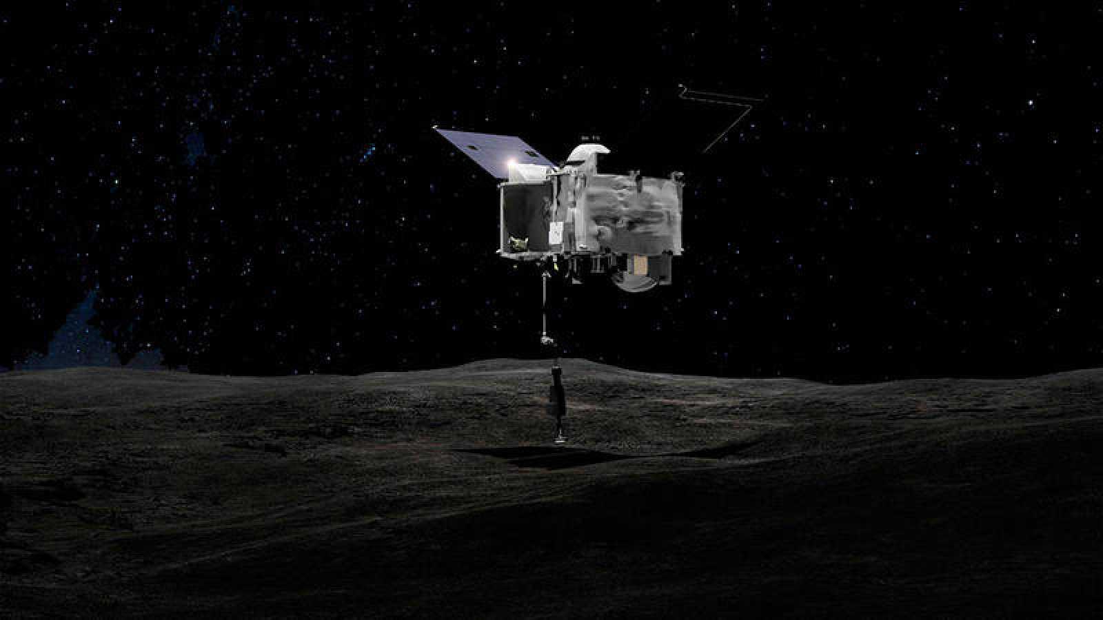Representación artística de la aeronave OSIRIS-REx sobre el asteroide Bennu.
