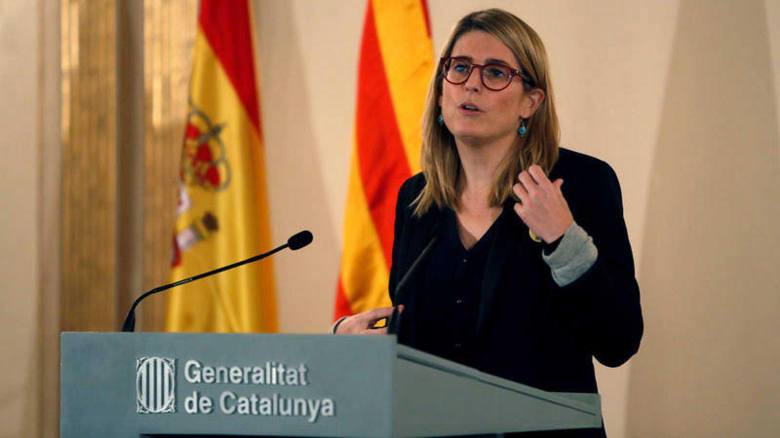 La consejera de Presidencia de la Generalitat, Elsa Artadi, en rueda de prensa