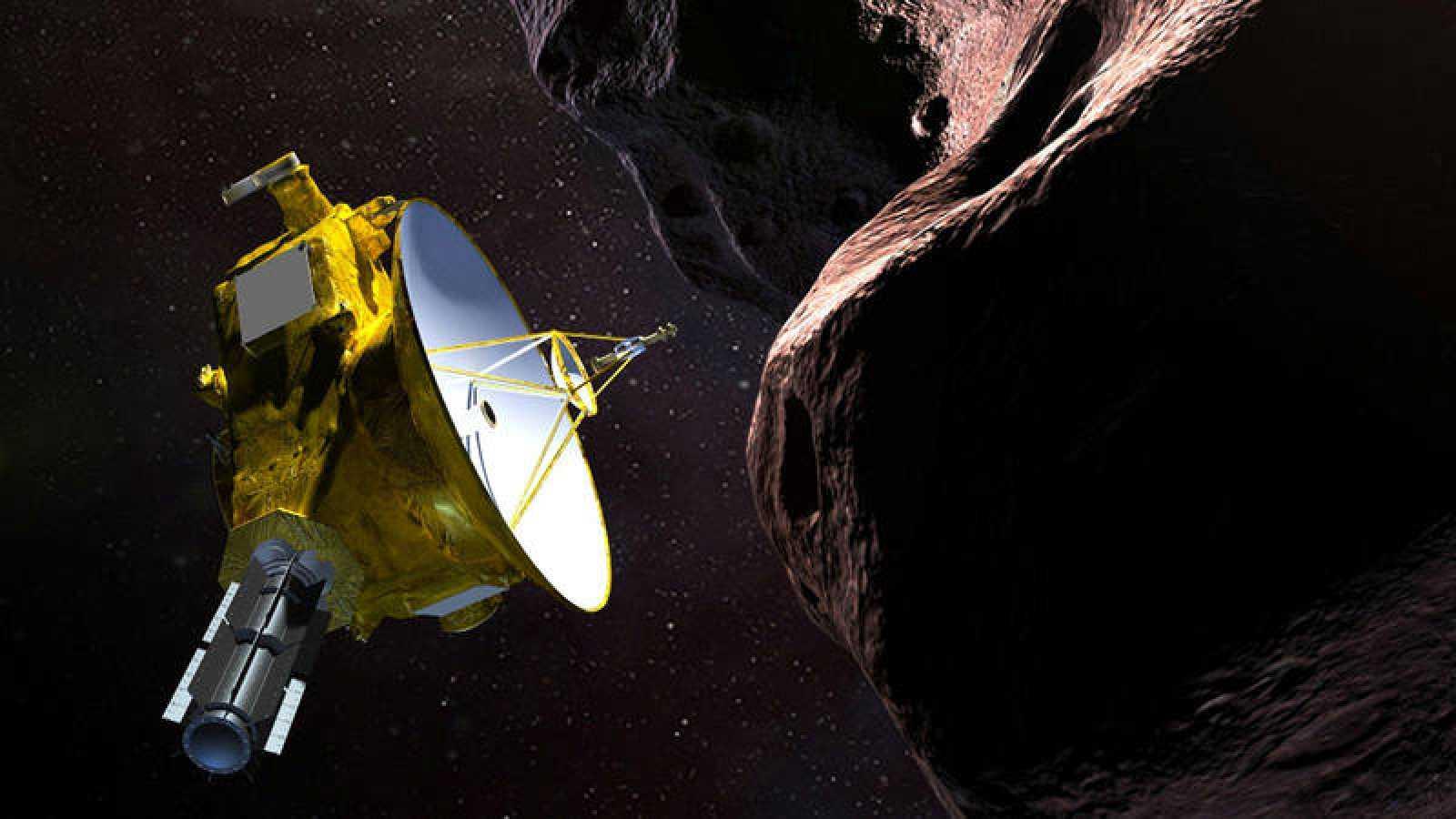 """Representación de la nave espacial New Horizons de la NASA, sobre """"Ultima Thule"""", que significa en latín """"un lugar más allá del mundo conocido""""."""
