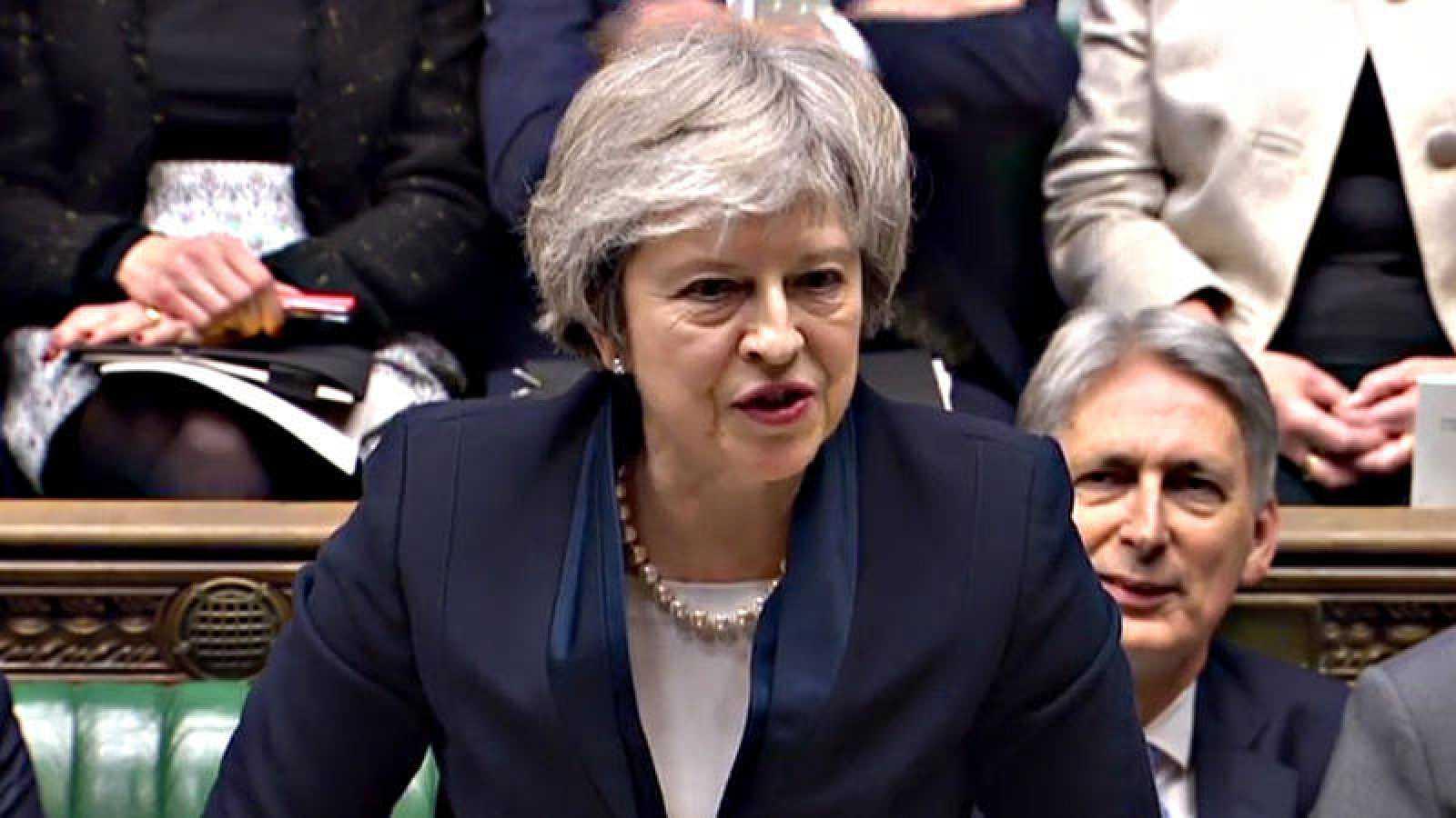 La primera ministra britanica, Theresa May, durante el último debate del 'Brexit'