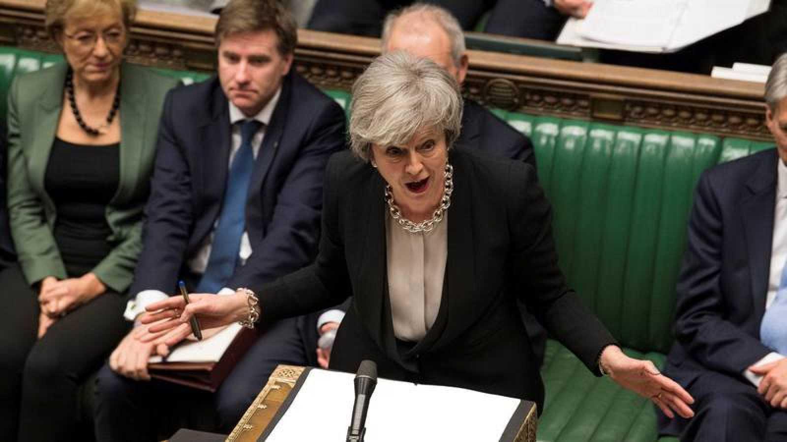 La primera ministra Theresa May, en el Parlamento británico