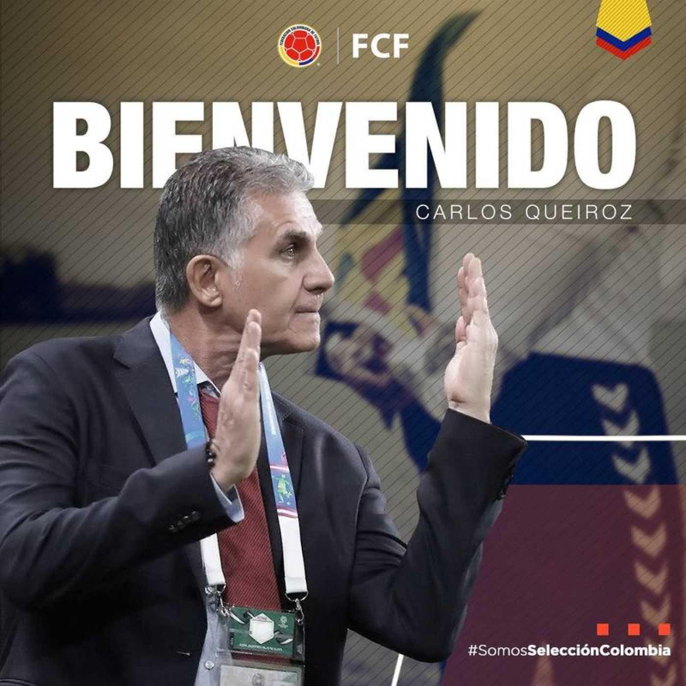 Imagen publicada por la federación colombiana para anunciar el fichaje de Queiroz.