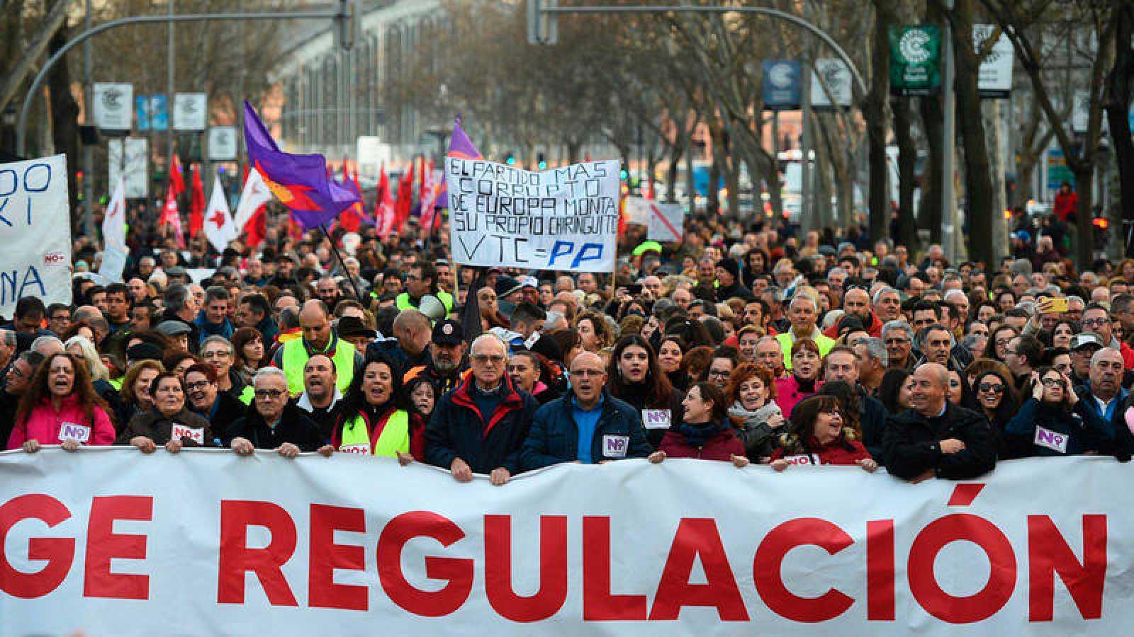 Manifestación que los taxistas madrileños