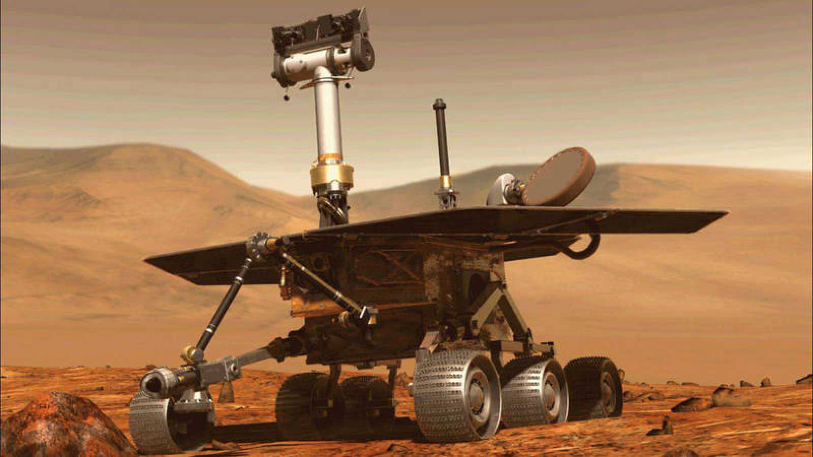 Representación del rover Opportunity sobre la superficie de Marte.