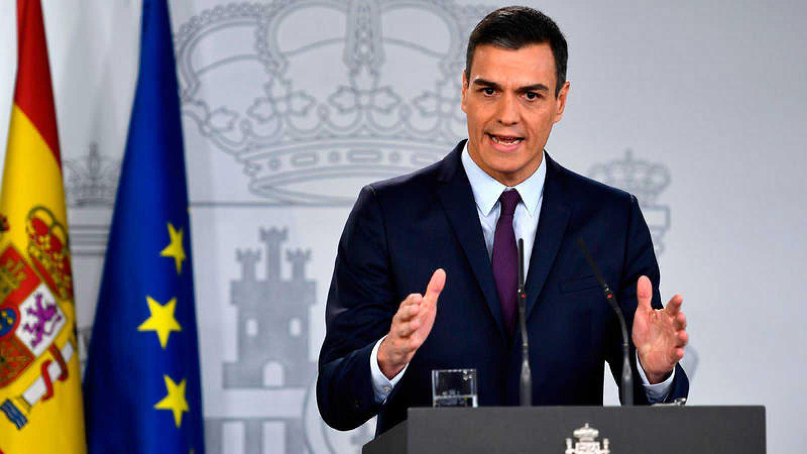 El presidente del Gobierno, Pedro Sánchez, durante la comparecencia de prensa en la que ha anunciado la convocatoria de elecciones generales