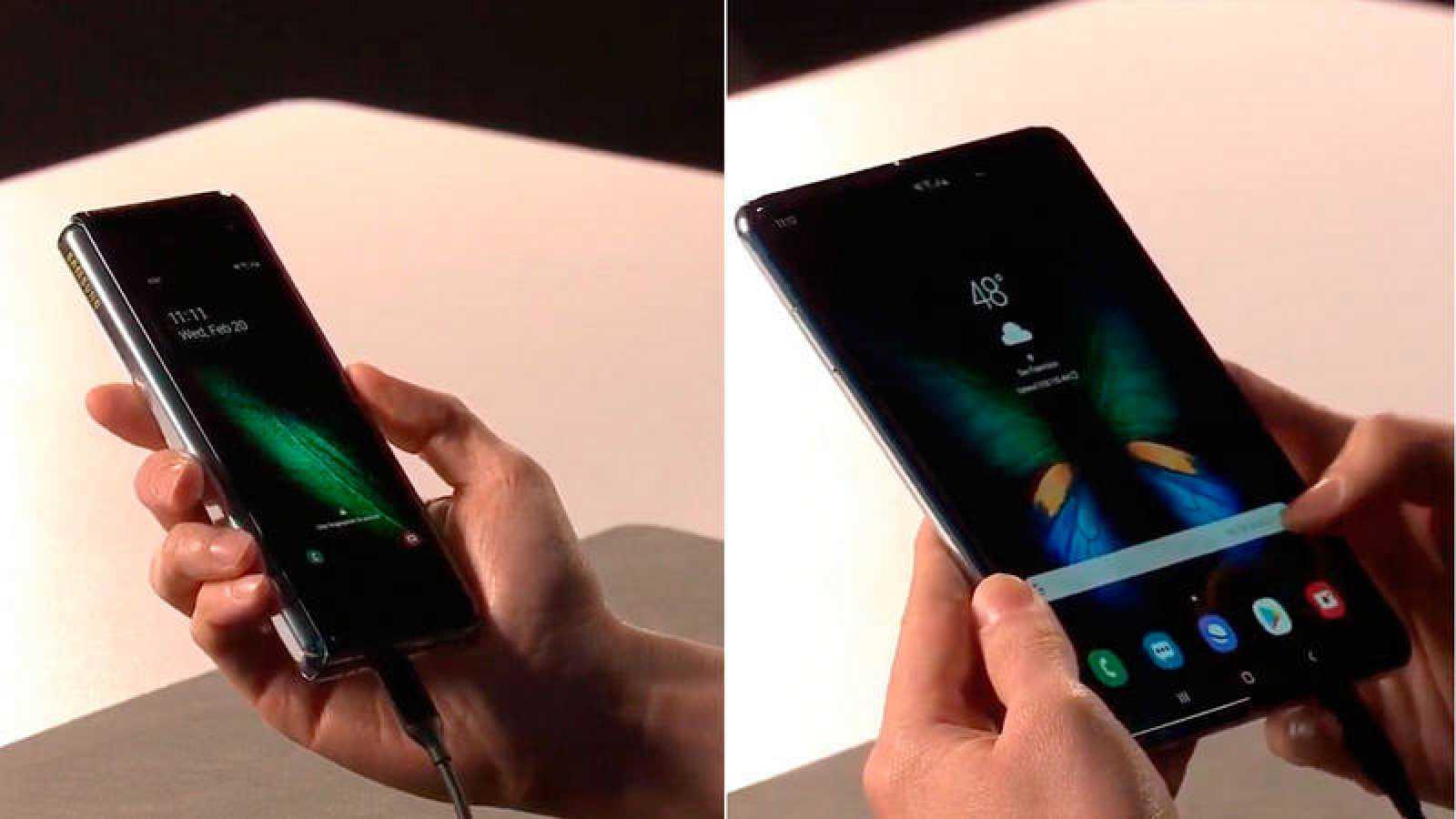 El Galaxy Fold plegado, a la izquierda, y desplegado, a la derecha.