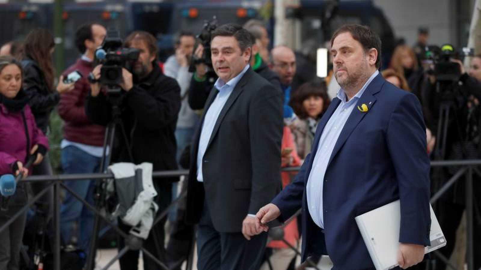 El vicepresidente cesado de la Generalitat de Cataluña, Oriol Junqueras, en una imagen de archivo, a su llegada a la sede de la Audiencia Nacional