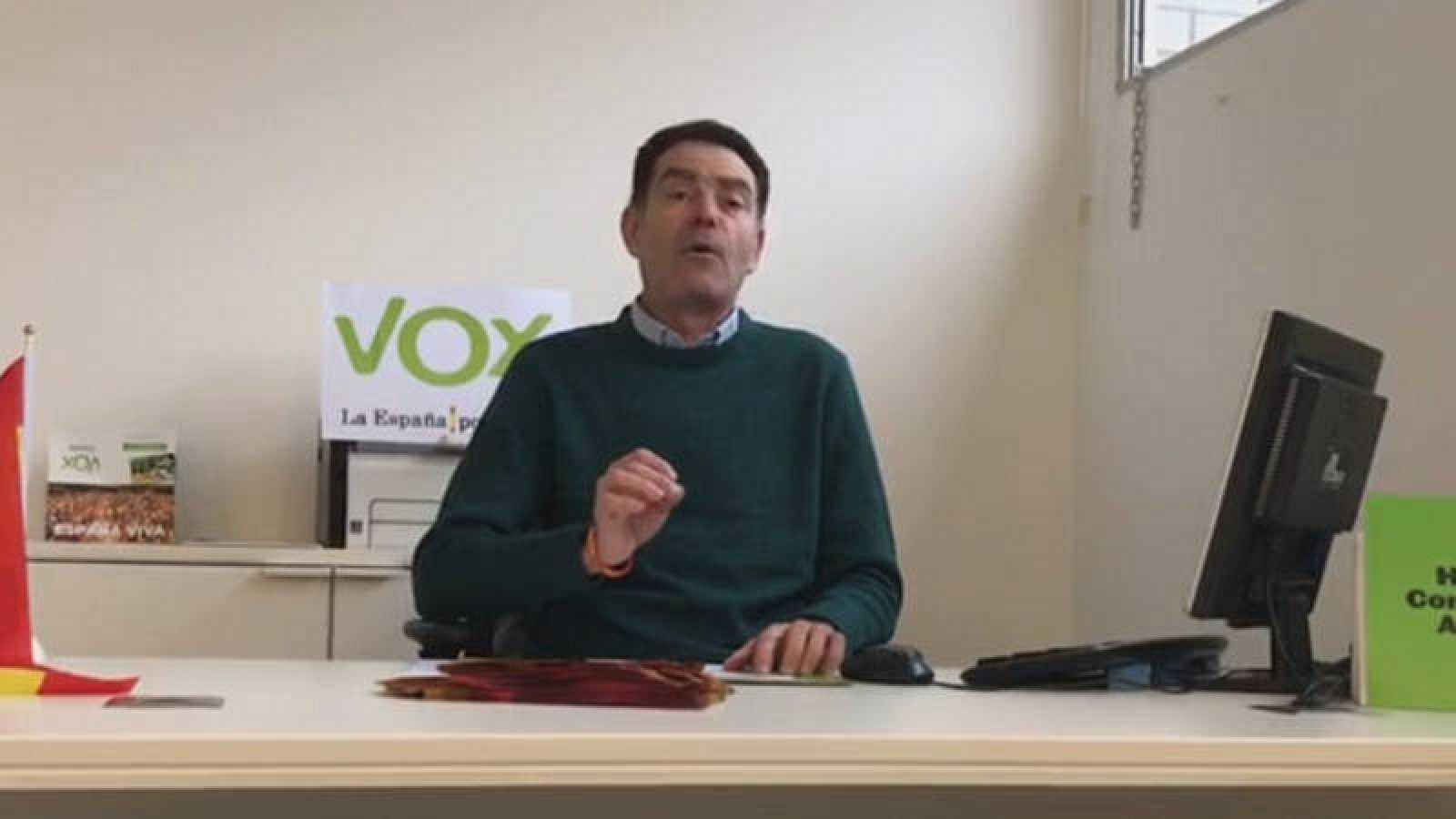 Imagen de José Antonio Ortiz Cambray, presidente de Vox en Lleida, en un video publicado por él mismo.