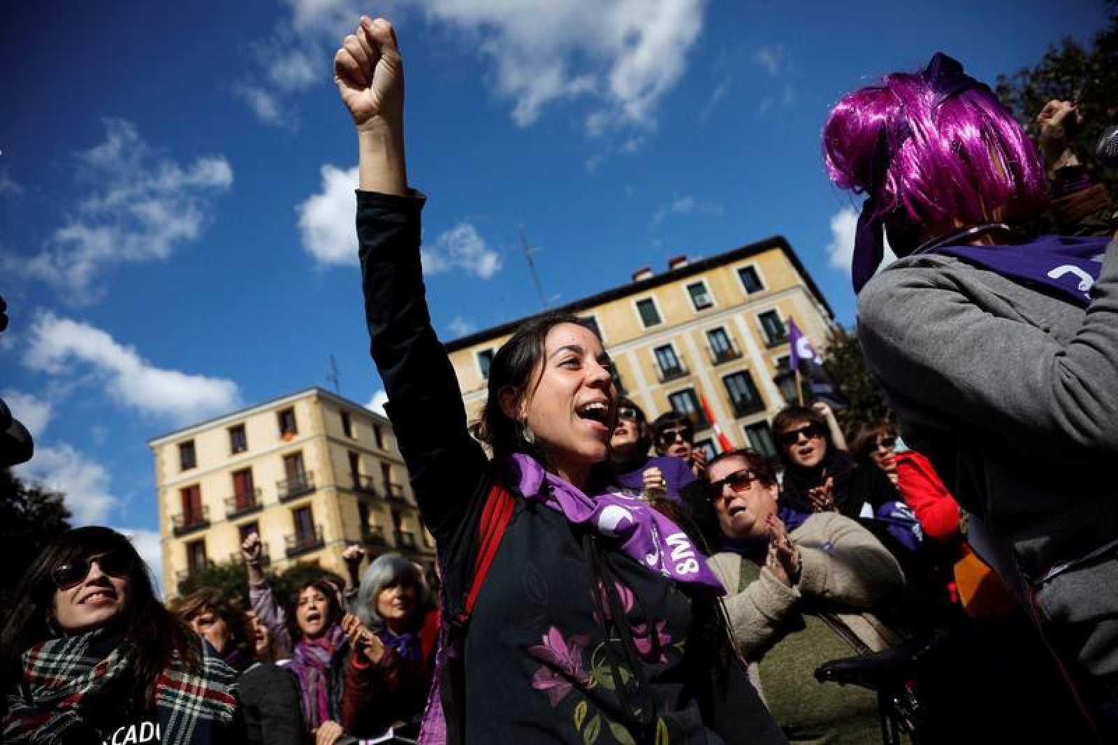 Concentración del Día Internacional de la Mujer en Plaza Lavapies