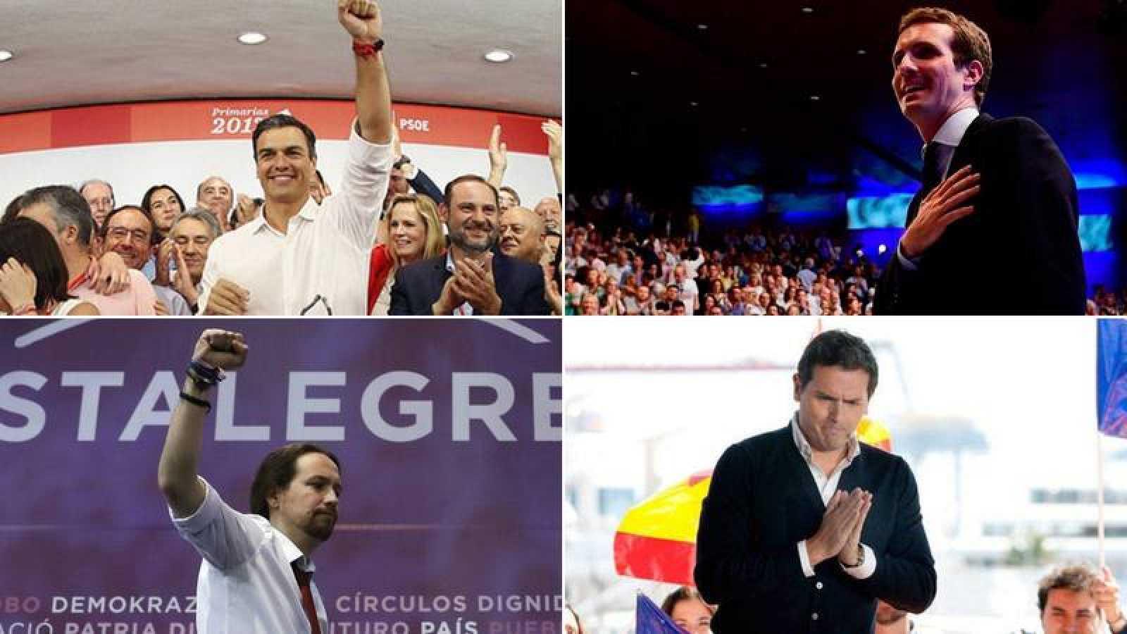 Pedro Sáncehz, Pablo Casado, Pablo Iglesias y Albert Rivera, candidatos de PSOE, PP, Podemos y Ciudadanos a la Presidencia del Gobierno.