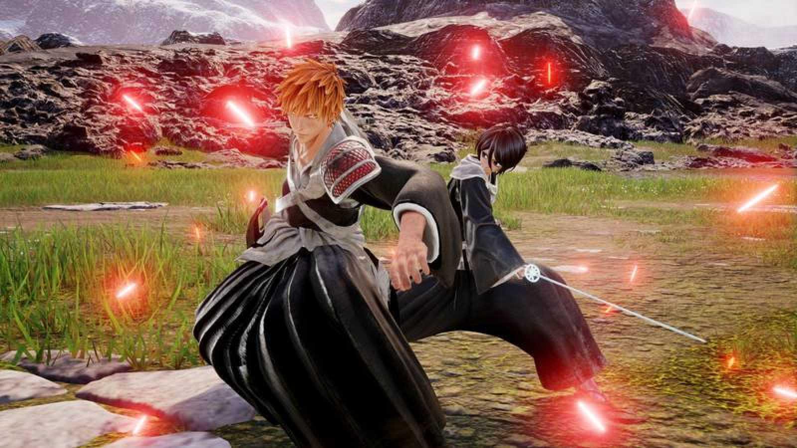 Naruto, Luffy y Son Goku en una captura de pantalla del videojuego 'Jump Force'.
