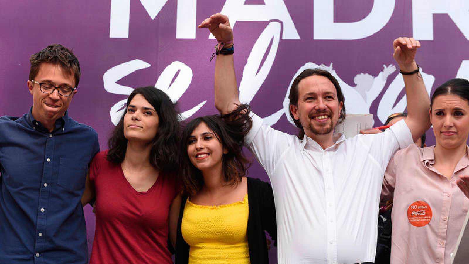 Acto de Podemos 'Madrid se levanta' el 2 de mayo de 2018.