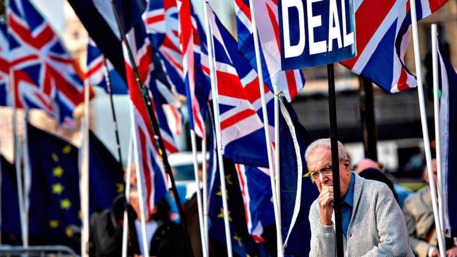 Un hombre se recosta pensativo ante el Parlamento de Westminster, rodeado de banderas británicas y europeas