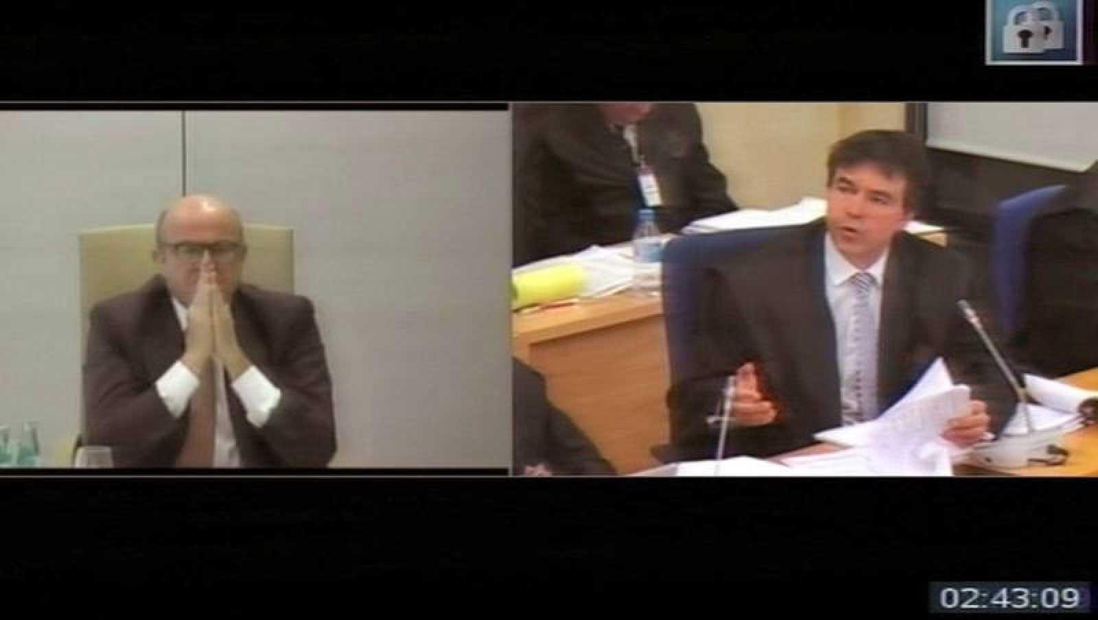 Captura de la señal de la Audiencia Nacional de la declaración por videoconferencia del exministro de Economía