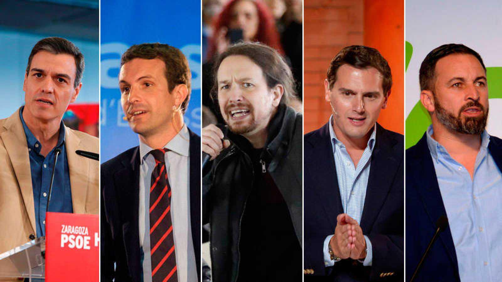 b06841bfb Pedro Sánchez, Pablo Casado, Pablo Iglesias, Albert Rivera y Santiago  Abascal. De izquierda a derecha: ...