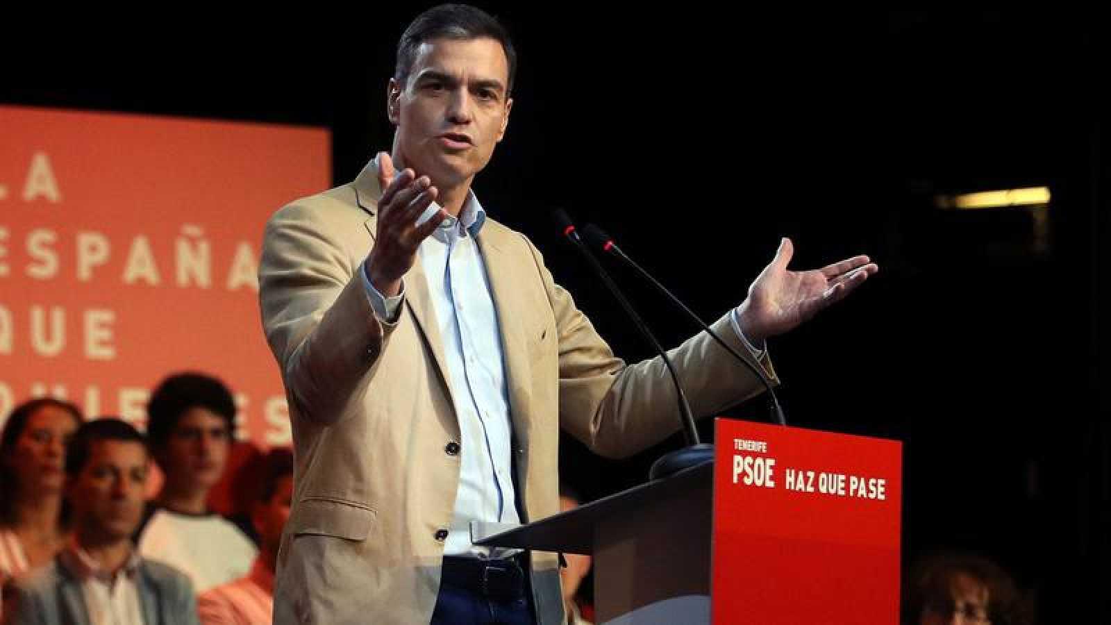 El presidente del Gobierno, Pedro Sánchez durante un mitin en Tenerife
