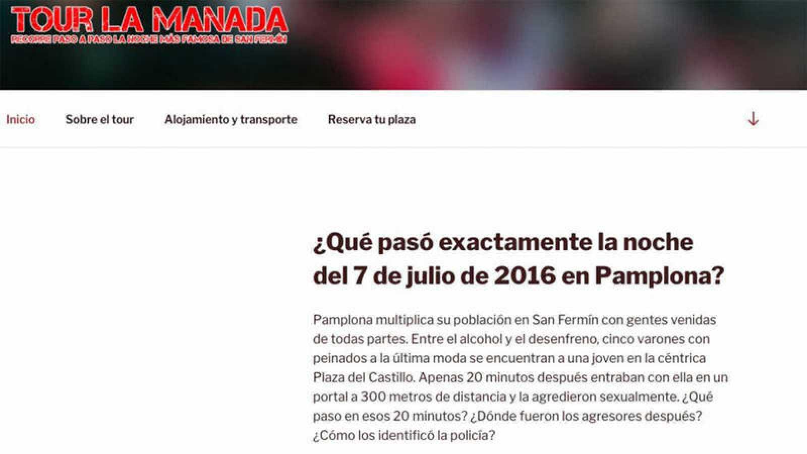"""Web con el anuncio sobre un """"Tour de La Manada""""."""