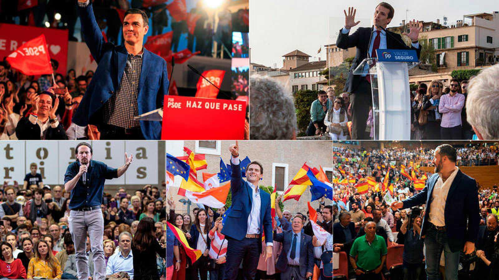 Mítines de Pedro Sánchez, Pablo Casado, Pablo Iglesias, Albert Rivera y Santiago Abascal en la campaña electoral del 28A.