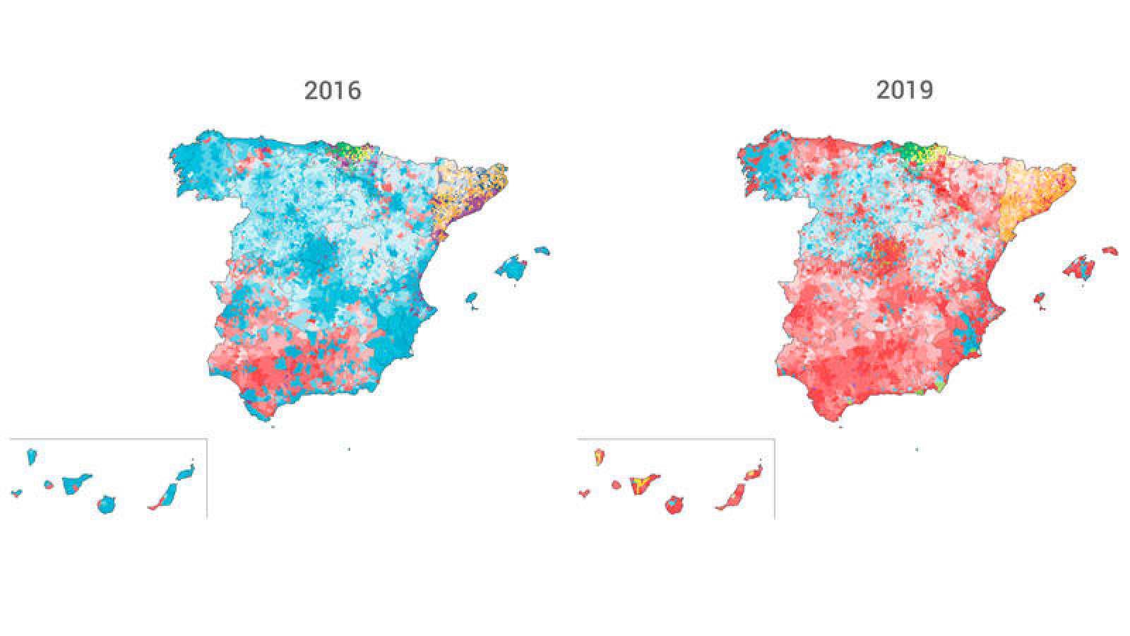 Asi Ha Cambiado El Mapa De Espana Por Municipios De 2016 A 2019