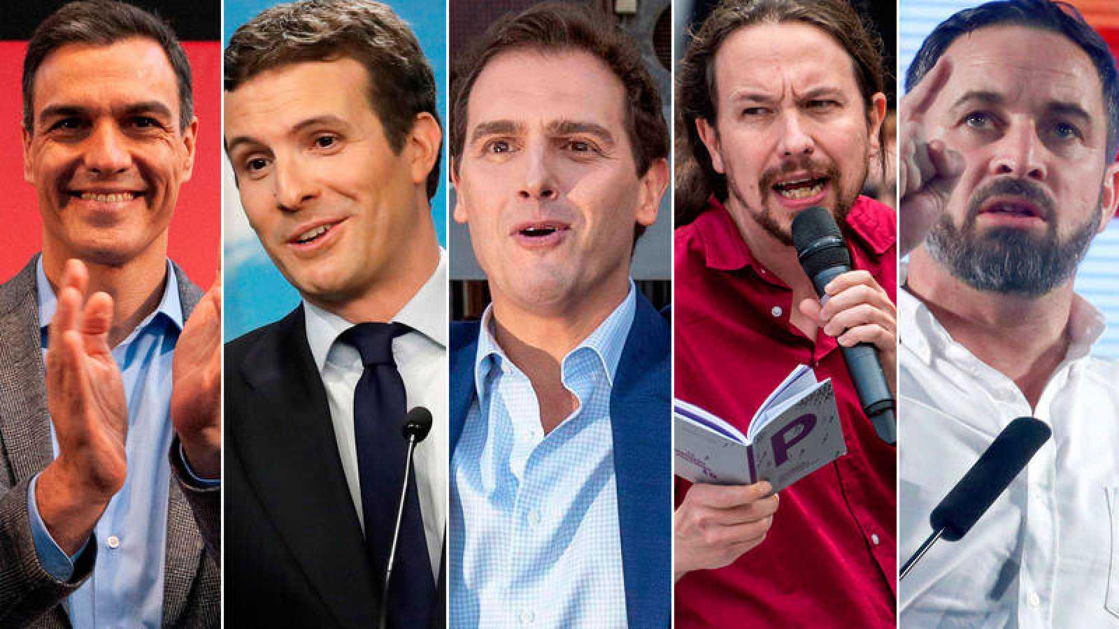 Los líderes de PSOE, PP, Ciudadanos, Unidas Podemos y Vox durante la campaña de las elecciones generales.
