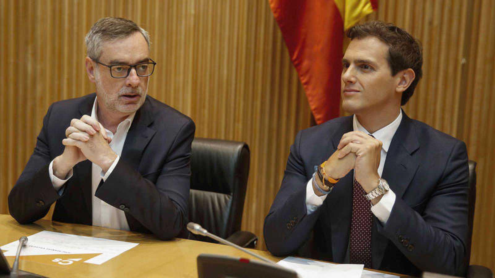 El presidente de Ciudadanos, Albert Rivera y el secretario general de la misma formación, José Manuel Villegas