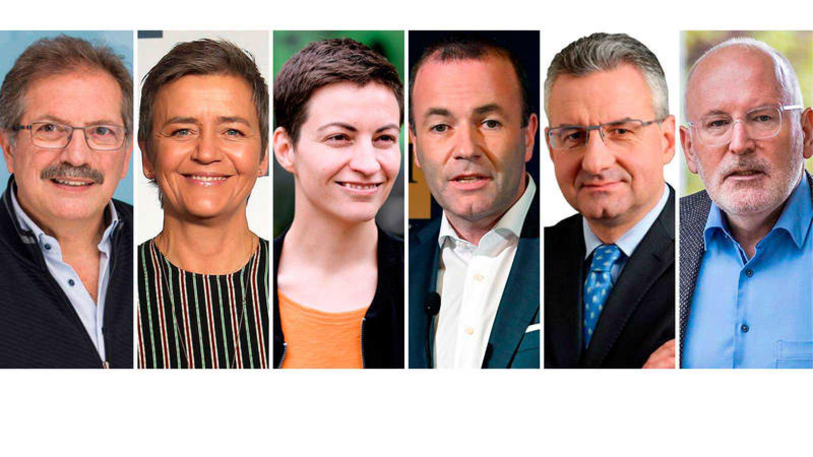 Los seis candidatos a presidir la Comisión Europea: Nico Cué, Margrethe Vestager, Ska Keller, Manfred Weber, Jan Zahradil y Frans Timmermans