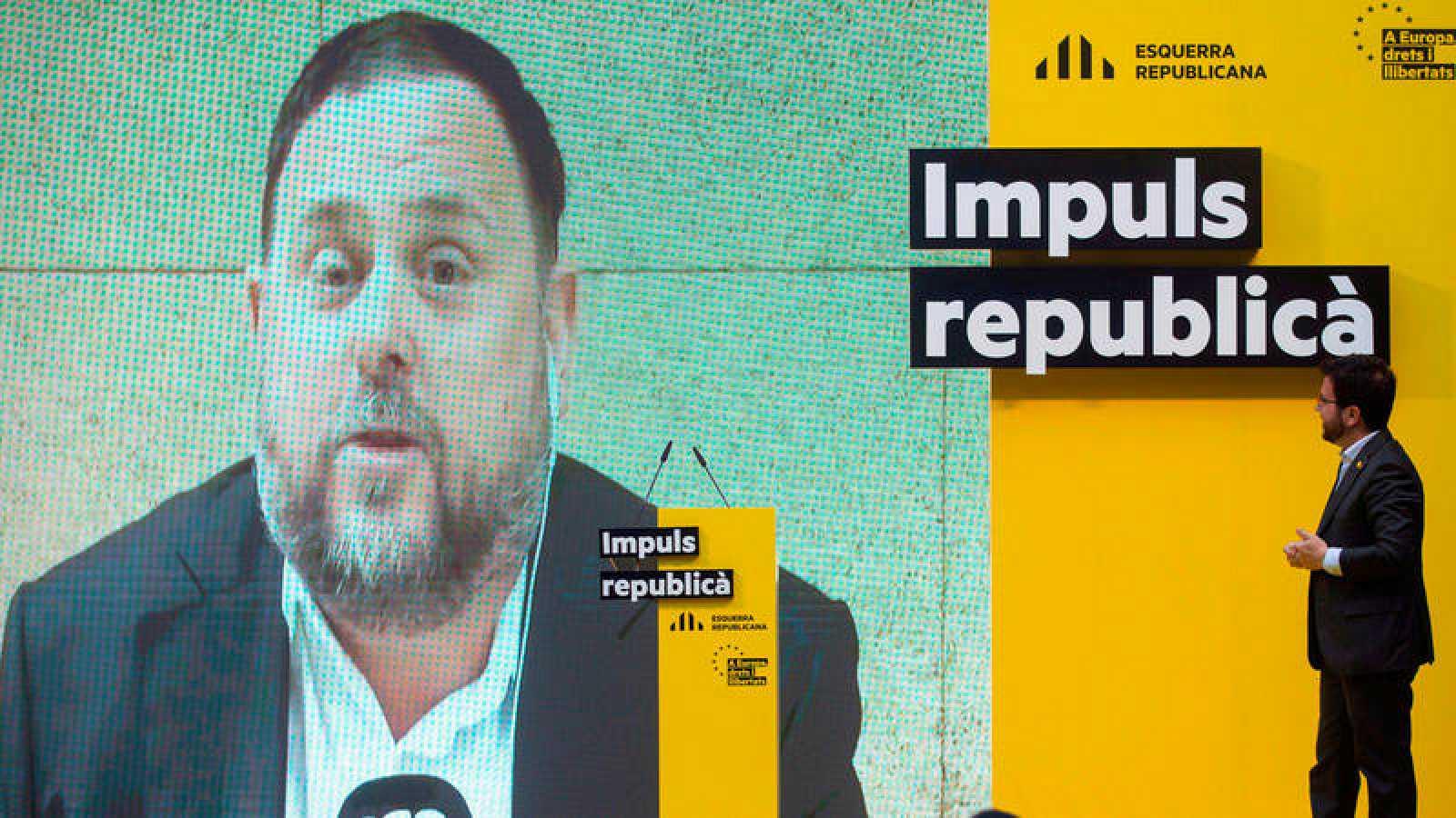 El vicepresidente del Govern, Pere Aragonés, en un acto de ERC