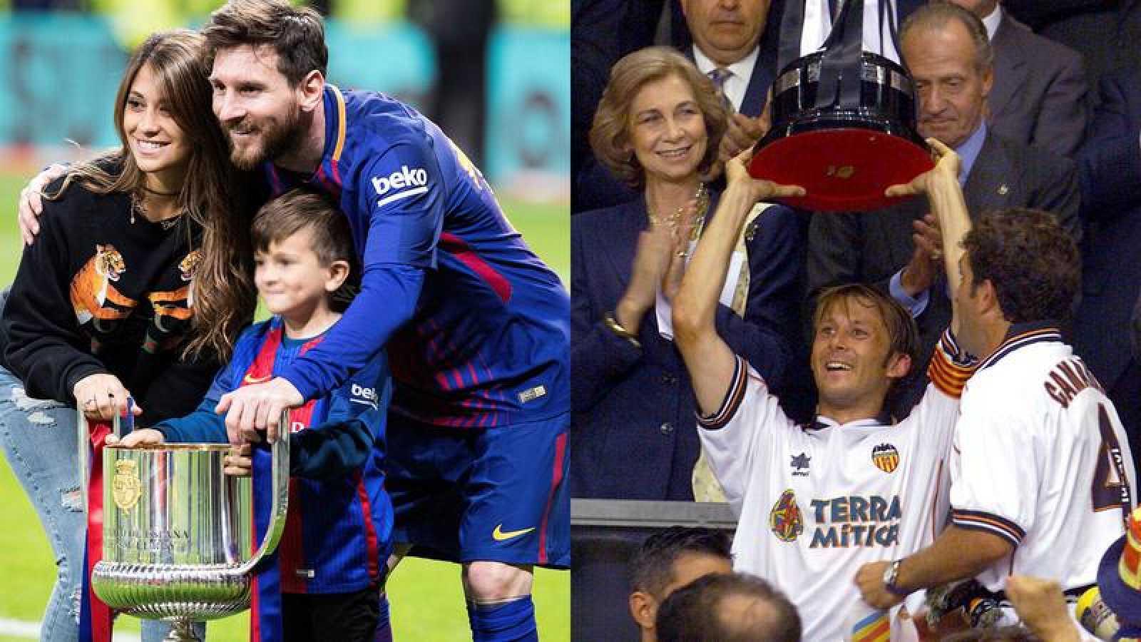 A la izquierda, Messi con la Copa de 2018, junto a su mujer, Antonella Rocuzzo, y el hijo de ambos; a la derecha, Mendieta alza la Copa de 1999.