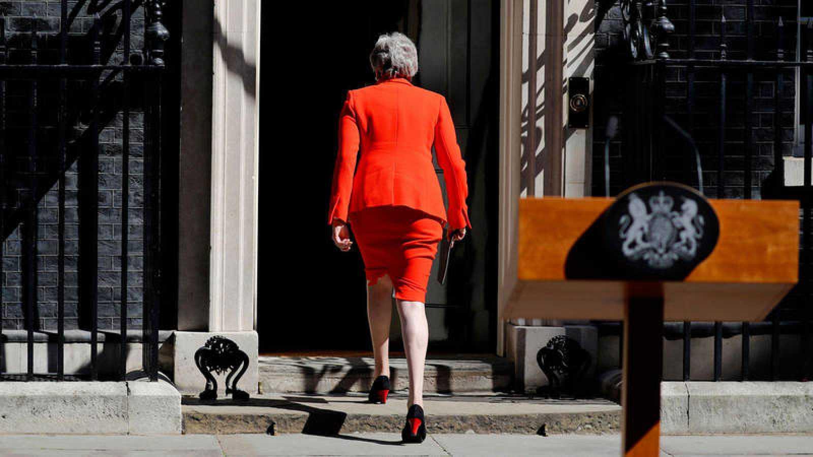La primera ministra británica, Theresa May,después de anunciar su dimisión.