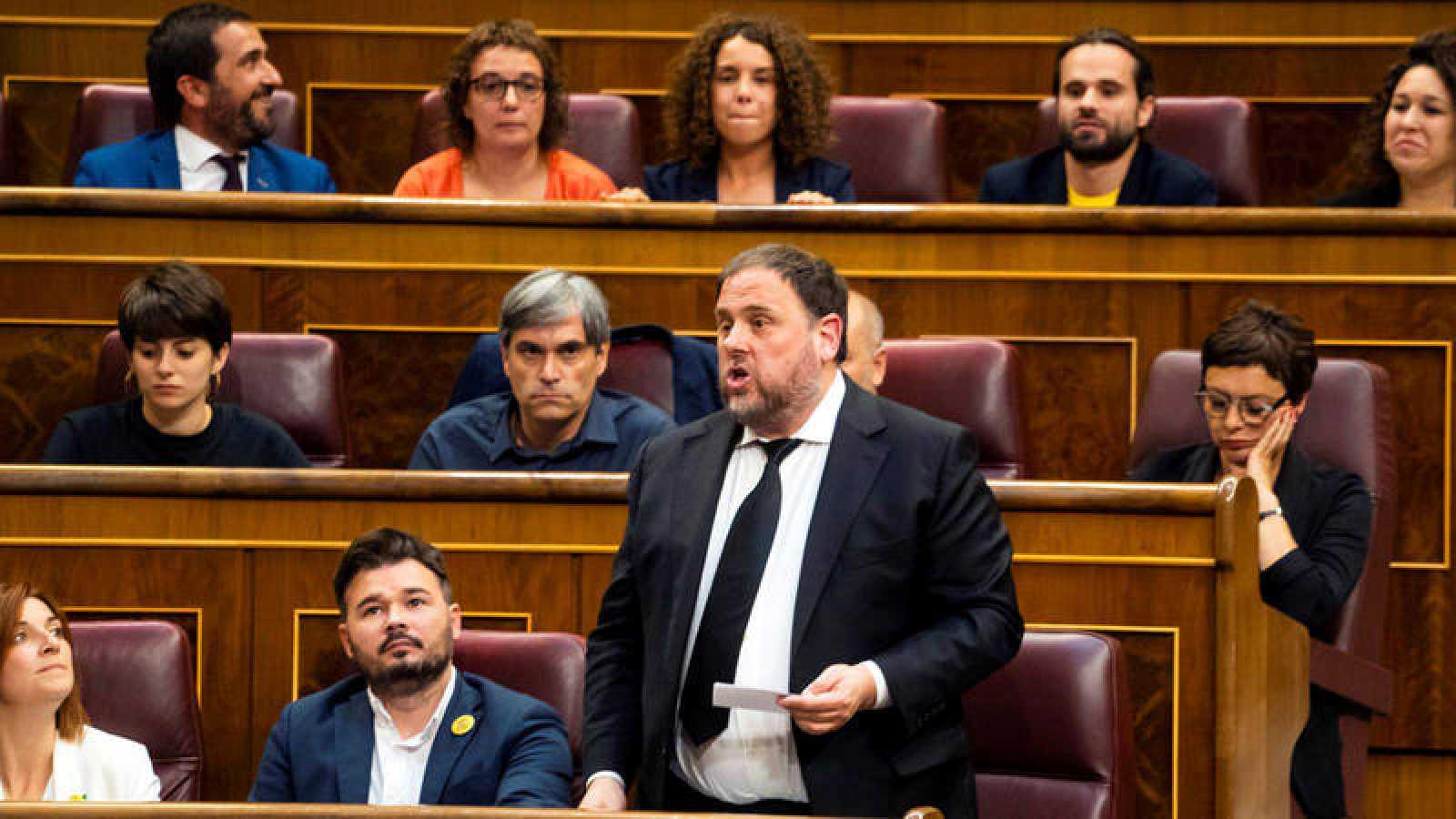 Oriol Junqueras durante el acatamiento de la Constitución en la sesión constitutiva del Congreso