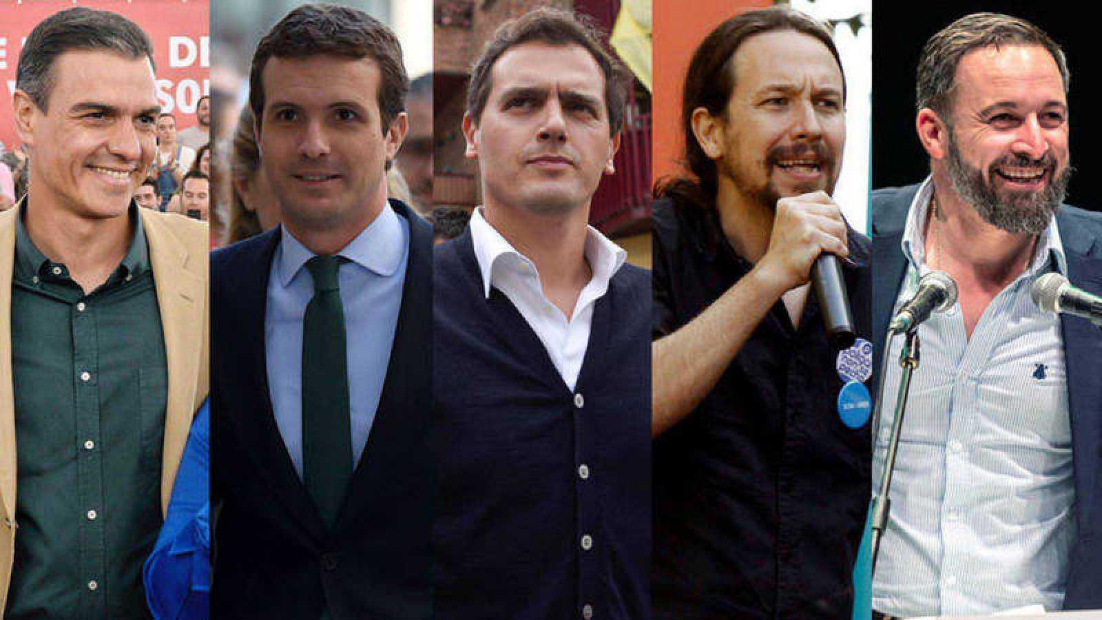 Los principales líderes políticos: Sánchez, Casado, Rivera, Iglesias y Abascal