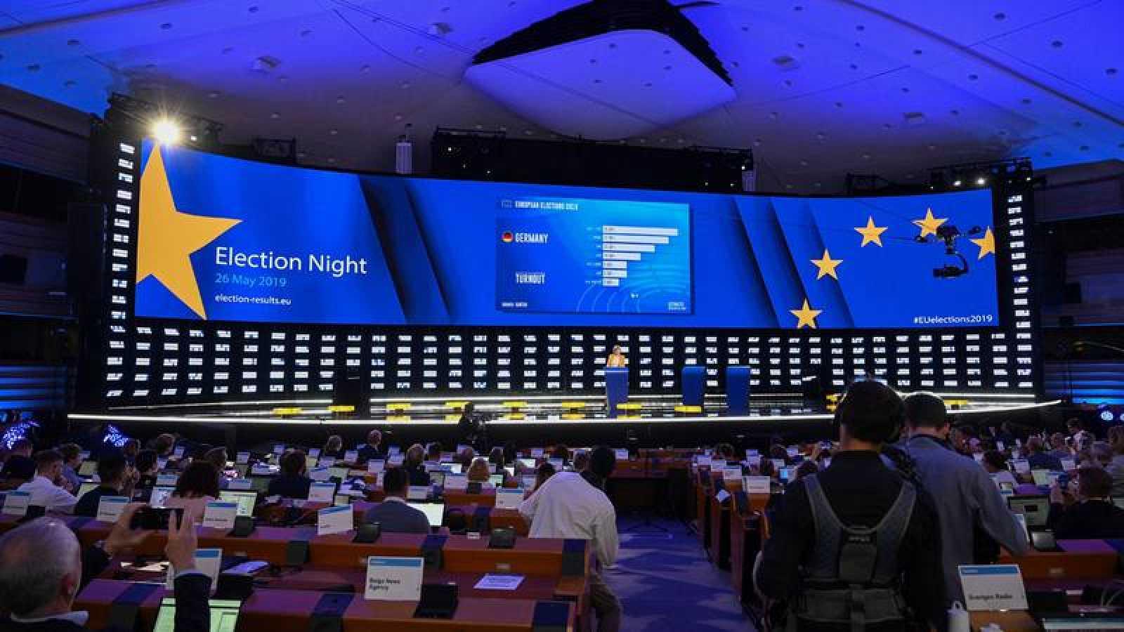 Noche electoral en el Parlamento Europeo