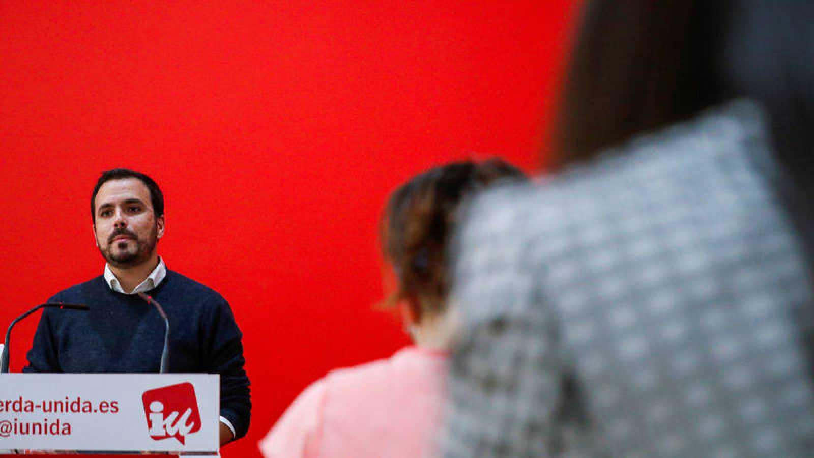 El coordinador federal de Izquierda Unida, Alberto Garzón, en una rueda de prensa