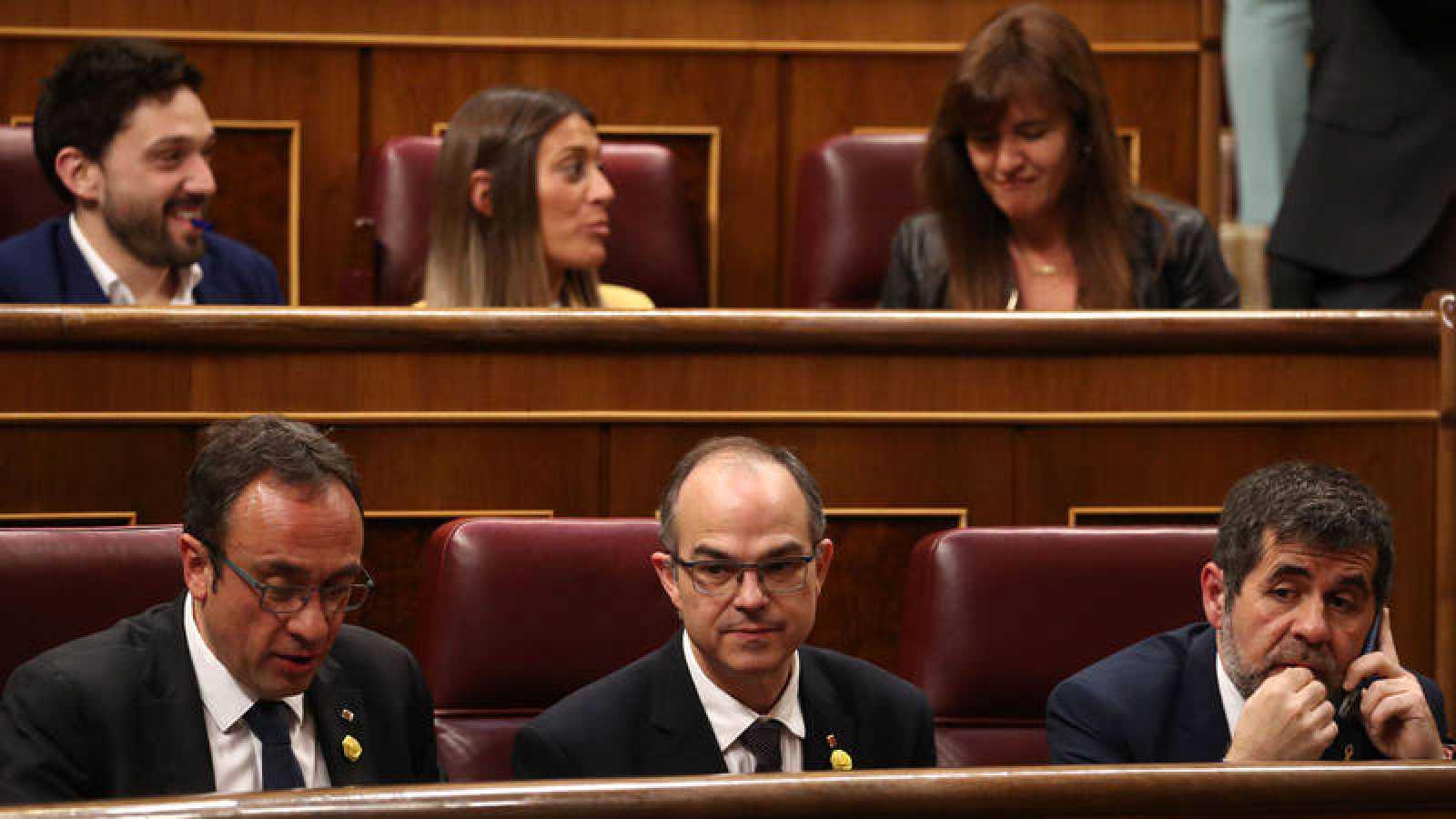 Los tres diputados de Junts per Catalunya suspendidos: Jordi Sanchez, Jordi Turull y Josep Rull