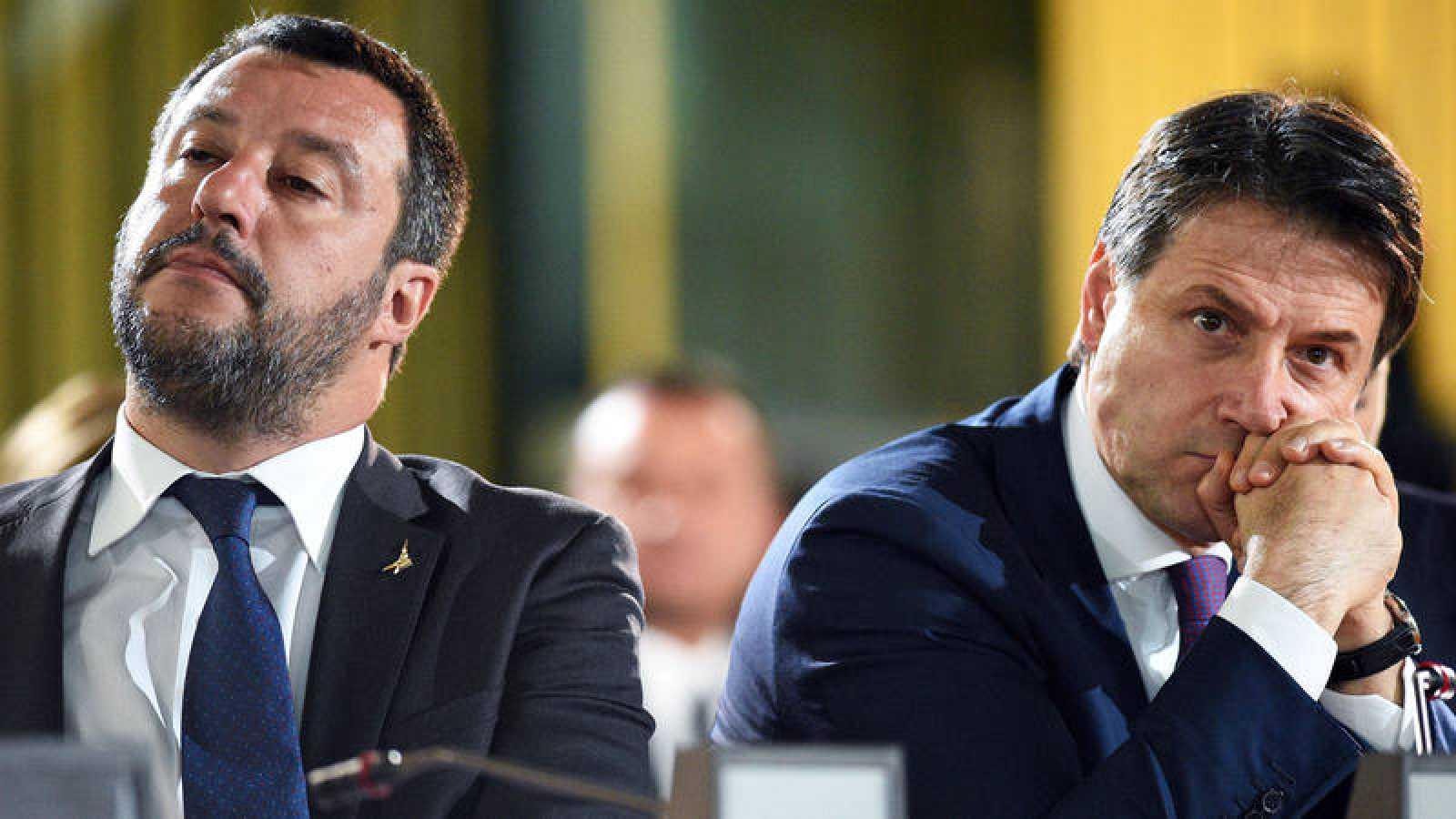El ministro del Interior italiano, Matteo Salvini, y el primer ministro del país, Giuseppe Conte