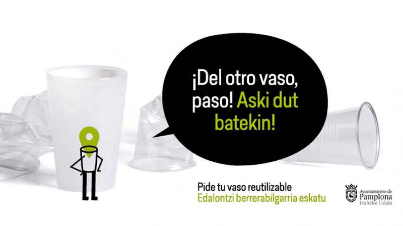 Campaña del Ayuntamiento de Pamplona para usar vasos reutilizables en los Sanfermines